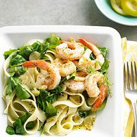 Lemon-Dill Shrimp & Pasta  Ingredients     12 ounces frozen peeled and deveined medium shrimp, thawed 1 lemon 8 ounces dried fettucine 2 tablespoons olive oil 3 - 4 cloves garlic, thinly sliced 6 cups baby spinch 1/2 teaspoon Italian seasoning, crushed Salt and ground black pepper Fresh dill (optional)