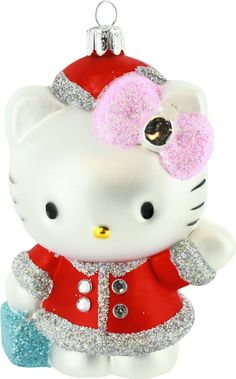 Sanrio's popular cartoon cat, Hello Kitty, is ready for the holidays! Decorate your tree with this Hello Kitty Glass Ornament, the festive feline pretty in red! Cat Christmas Ornaments, Christmas Cats, Glass Ornaments, Christmas Holidays, Xmas, Hello Holidays, Merry Christmas, Hello Kitty Christmas, Hello Kitty Themes