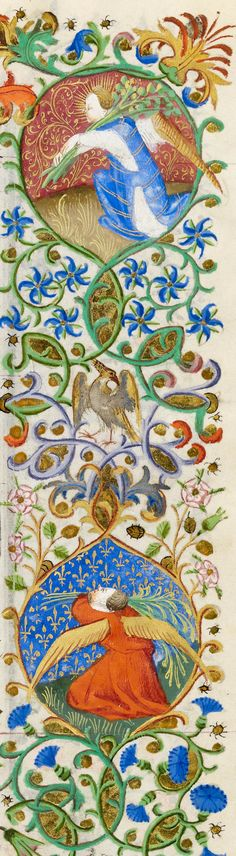 Angel, holding branches over left shoulder (top) & Angel, extending branches with left hand, holding another branch over left shoulder with right hand (bottom) | Book of Hours | ca. 1425-1430 | The Morgan Library & Museum