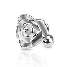 Rose Cartilage Earring Silver 16ga Surgical Steel Upper Ear Helix Body Piercing Jewelry - BodyDazzle