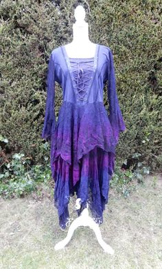 Gothic Medieval Faerie Dress in blue/purple.