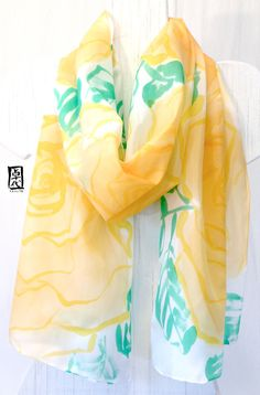 Hand Painted Silk Scarf Yellow Spring Roses by SilkScarvesTakuyo