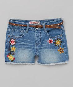 Another great find on #zulily! Medium Denim Floral Belted Shorts by Squeeze #zulilyfinds