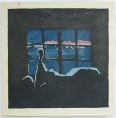 Umetaro Azechi,  Can't sleep -- night view of mountain range, 1955,  woodblock print