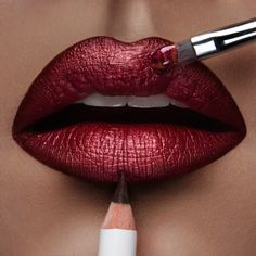 A mix of 'Black Metal Dahlia' & 'Authentic' #LipTar lined with 'Sybil' OCC Pencil! - Obsessive Compulsive Cosmetics.