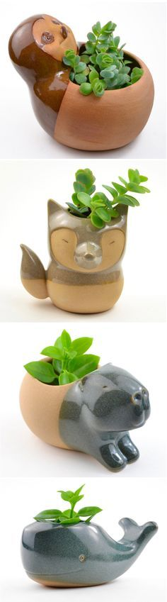 CumbucaChic has a wide selection of adorable ceramic animal planters that will hold your favorite succulents or cacti.