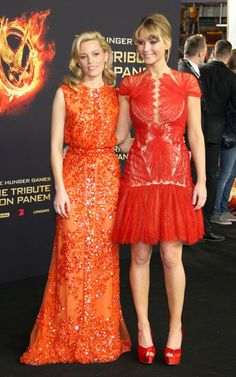Elizabeth Banks and Jennifer Lawrence at the Berlin premiere of The Hunger Games today.