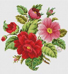Flowers roses cross stitch.