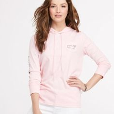 Long Sleeve Whale Hoodie Super cute pink long sleeve hoodie with navy blue lettering and whale! Like new condition, worn only once! Vineyard Vines Tops Sweatshirts & Hoodies