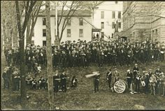 Ohio University Military Band on College Green postcard, ca 1932. :: Ohio University Archives