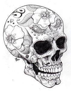 There is a sharp contrast between the skull and the patterns of flowers.