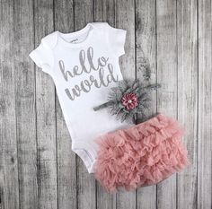 Dusty Rose Baby Girl Coming Home Outfit / Newborn Girl Hello World Bodysuit / Dusty Rose Bloomers & Headband Set / Baby Girl Hospital Outfit by CutieButtsBoutique on Etsy https://www.etsy.com/listing/464950834/dusty-rose-baby-girl-coming-home-outfit