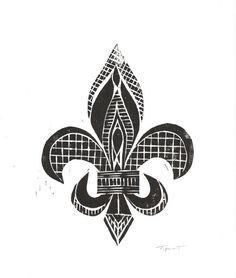 SALE  Print  Fleur De Lis Linocut / 8 x 10 Wall Art / by printwork, $22.00