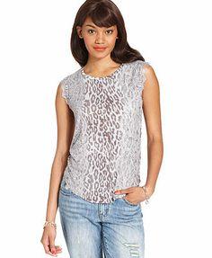 RACHEL Rachel Roy Top, Sleeveless High-Neck Leopard-Print Lace