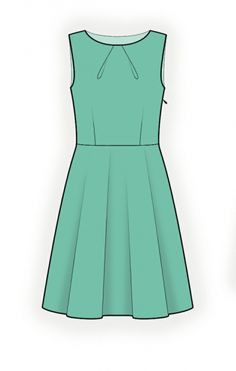 Lekala Sewing Pattern for a pleated neckline fit and flare dress. Would make the ultimate LBD made out of black suiting.