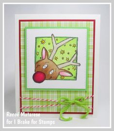 I Brake for Rudolph! Happy Saturday, Handmade Christmas, I Card, Recipe Ideas, Reindeer, Squares, Cardmaking, To My Daughter, Christmas Cards