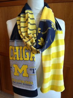 Items similar to UPCYCLED t-shirt scarf... University of Michigan... U of M... Wolverines... blue, grey and gold on Etsy
