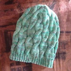 Knitted cable hat mint green wool hat warm merino by OneSolarApril