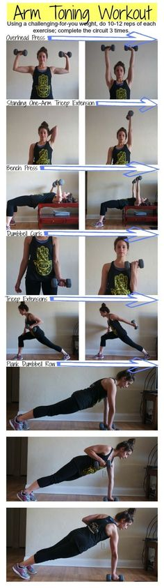 Arm Toning Workout--I did three cycles of two exercise with a 60 second cardio blast between each one. A great workout Training Fitness, Sport Fitness, Body Fitness, Strength Training, Fitness Diet, Health Fitness, Workout Fitness, Fitness At Home, Home Weight Training