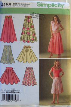 Simplicity 4188 Misses' Skirts with Length Variations and Belt