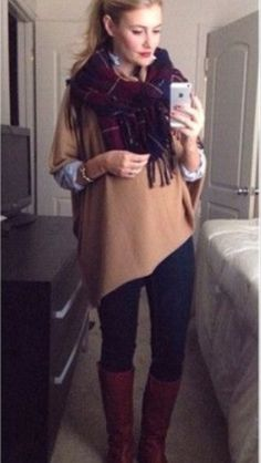 Scarf and boots compliment this simple pancho!  Really like it!