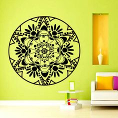 Mandala Yoga Wall Decal Art Vinyl Home Decor Removable Self Adhesive Indian Pattern Wall Stickers $11.55