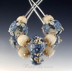 VICKIE LEE Lampwork Beads ~ Blue Raised Floral Round Beads SRA