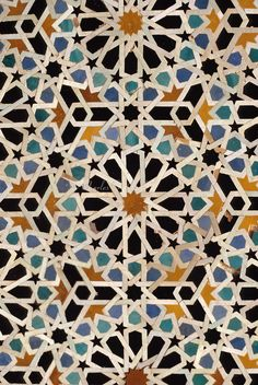 Fez, Morocco - Geometric Tile Work, Bou Inania Medersa.  14th. Century A.D.  pattern for a possible straw weaving