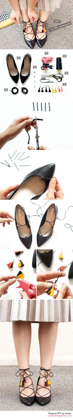 Laced shoes DIY // Blog DIY Artlex http://www.leblogdartlex.com/diy-chaussures-lacees-pompons/