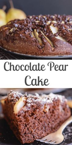 Chocolate Pear Cake a moist easy to make Cake Recipe. Chocolate Cake topped with sliced pears and sprinkled with chocolate chips. The perfect breakfast tea or dessert cake. Pear Recipes Easy, Pear Dessert Recipes, Easy Desserts, Cake Recipes, Desserts With Pears, Recipes With Pears, Jelly Recipes, Pear And Chocolate Cake, Chocolate Desserts