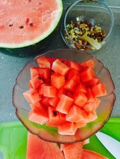 Breakfast should be very light and Water Dense. Watermelon is perfect. Add some Nuts for Protein but only a small handful.
