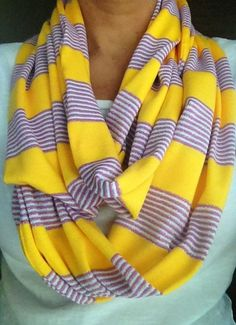 Hey, I found this really awesome Etsy listing at https://www.etsy.com/listing/163194155/lsu-infinity-scarf-purple-and-yellow