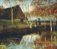 Landschaft bei Worpswede. Öl auf Holz, 23,5 x 26,5 cm, Eduard Euler (1867–1931), 1894