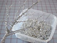 Making Glitter Branches #weddingdecor