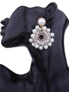8837de07f Faux Pearl Beaded Round Floral Earrings #Earrings #Fashion #Womens  #Accessories #White
