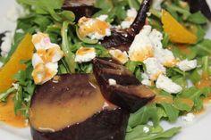 New Roasted Beet Salad with arugula, goat cheese, orange segments, & citrus vinaigrette.