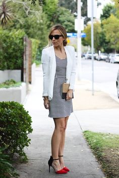 Stripes + blazer + pop of red. (@HalloLady . this made me think of you)