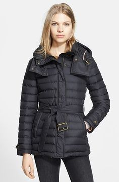Burberry Brit 'Cornsdale' Channel Quilt Down Jacket with Hood