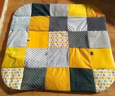 TAPIS D'EVEIL 125x125 MONTESSORI INSPIRATION -jaune gris - CADEAU NAISSANCE - BEBE - TAPIS DE PARC