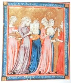 Two women wearing an outer gown with side lacing that is left half open. Golden Haggadah, Spain. c. 1320, British Library, Add. MS 27210, f. 15r.
