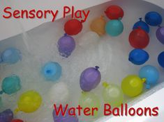 Sensory play with the water balloons is a great opportunity for kids to explore and use descriptive words, describing their senses and what ...