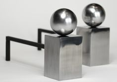 Spherical A Pair of Spherical Steel Fire Dogs  Chesneys