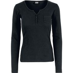 Ladies Rib Pocket L/S Tee (65 BRL) ❤ liked on Polyvore featuring tops, t-shirts, pocket tops, ribbed t shirt, ribbed top, pocket tees and longsleeve t shirts