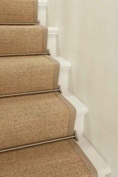 Sisal Stair Runner W Brushed Nickel Rods Painted Stairs Sisal Stair Runner, Staircase Runner, Stair Runner Rods, Staircase Carpet Runner, Carpet Runners For Stairs, Hall Runner, House Stairs, Carpet Stairs, Hall Carpet