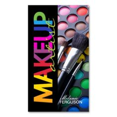 Colorful and bold Makeup Artist Business Card. Beauty Business Cards, Business Holiday Cards, Salon Business Cards, Makeup Artist Business Cards, Oriflame Beauty Products, Best Makeup Products, Business Pens, Creative Business, Makeup Artist Logo