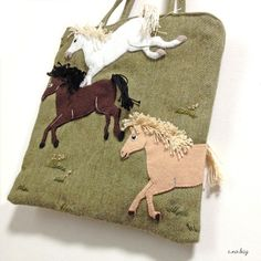 "Horse felt applique and embroidery mini bag by e.no.bag ""ウマ ノ バッグ "" #horse #felt…"
