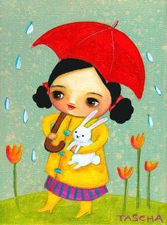 http://www.etsy.com/listing/88699288/rainy-day-red-umbrella-with-bunny-cute?ref=tre-2072334979-7    RAINY day red umbrella with BUNNY cute PRINT of painting by tascha    http://www.etsy.com/treasury/MTQzNzgyMTJ8MjA3MjMzNDk3OQ/the-color-of-rain?index=552