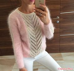 Приветствую всех на он-лайне по вязанию пушистого пуловера с ажурной вставкой.  Опрос в Стране Мам: Пушистый пуловер с ажурной вставкой. Приглашение на он-лайн.