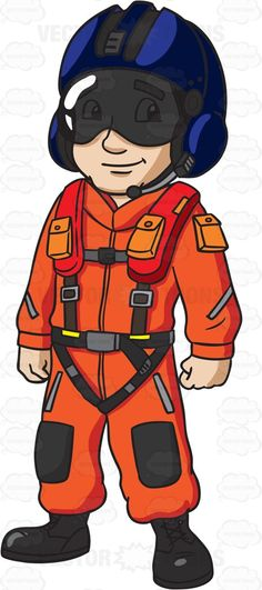 A US Coast Guard Helicopter Pilot #cartoon #clipart #vector #vectortoons #stockimage #stockart #art