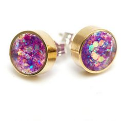 Glittery pink and purple stud earrings. Perfect for Christmas! From LoveBeUnique.com